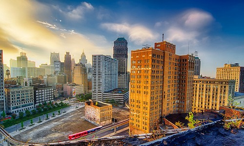Sunrise from the rooftop in Detroit #flickr12days
