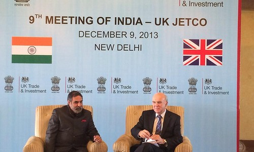 UK Business Secretary, Vince Cable with Anand Sharma, Indian Union Minister for Commerce and Industry, in India