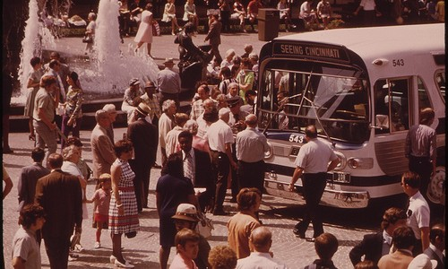 "Cincinnati Bought the Privately-Owned Transit System Renamed It ""Metro"" and Put New Paint on the Buses. the New System Is Introduced at Noontime in Downtown Fountain Square 08/1973"