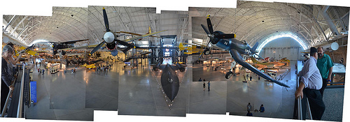 Steven F. Udvar-Hazy Center: Photomontage of primary entrance view, including P-40 Warhawk & F-4 Corsair up front, SR-71 Background beneath in the near distance, and the Space Shuttle Enterprise beyond